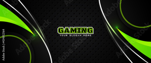 Futuristic green abstract gaming banner design template with metal technology concept. Vector illustration for business corporate promotion, game header social media, live streaming background