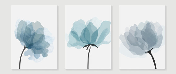 Abstract flower vector arts background. Wall art design with watercolor and transparency vector effect. Floral and leaves wall decoration.