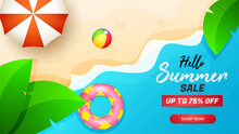 Summer Sale Banner Special Offer With Beautifull Beach Background