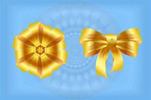 Decorative Golden Bow . Vector Illustration