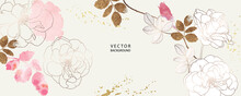 Asian Background ,Oriental Japanese Style Abstract Pattern Background Design  With Rose Decorate In Water Color Texture