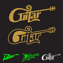 Guitar Word Mark Symbol Vector Conceptual Illustration Can Be Used As Design Element, Logo, T-shirt Print, Or Any Other Purpose