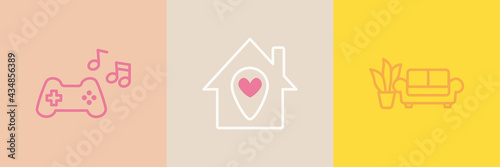 Vector home and entertainment icon set, simple outline style Fototapeta