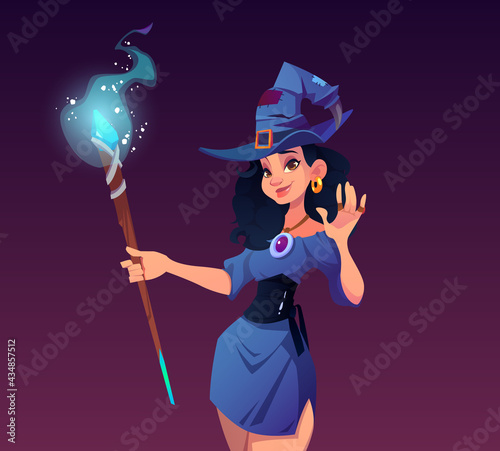 Tablou Canvas Witches night cartoon poster, invitation to Halloween party or holiday celebrati
