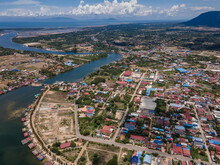 Kampot Birdeye View A Charming City In South Of Cambodia, Drone Photography