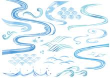 和風素材,波の水彩セット