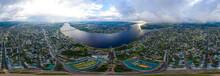 Kostroma, Russia. Volga River Embankment, Panorama 360 Of The City Center. Aerial View