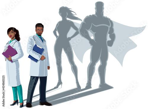 Fototapeta Indian Doctor Superheroes Shadow