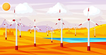 Wind Farm In Autumn Fields Among Trees.