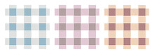 Gingham  Pattern Set. Tartan Checked Plaids In Muted Blue, Purple, Orange, White. Seamless Muted Vichy  Backgrounds For Tablecloth, Blanket, Napkin, Or Other Textile Design.