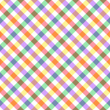 Vichy Seamless Texture. Colorful Bright Gingham Tartan Check Plaid In Purple, Red, Green, Yellow, White. Vector For Tablecloth, Picnic Blanket, Other Modern Spring Summer Fashion Textile Print.