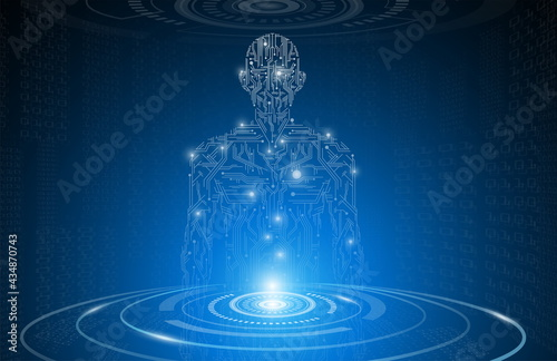 Canvas Print abstract background technology concept in blue light,brain and human body heal ,