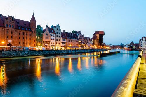 Carta da parati Gdansk night city riverside view
