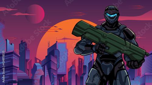 Fotografie, Obraz Futuristic Soldier in City Close-up