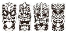 Set Of Tiki Statues Isolated On White Background. Design Element For Logo, Label, Sign, Emblem. Vector Illustration