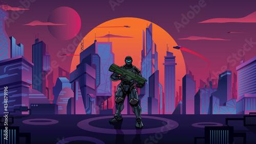 Fotografie, Obraz Futuristic Soldier in City