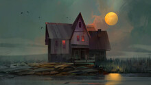 Painted Landscape With An Old House On A Gloomy Quiet Night