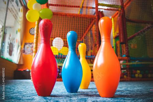 Cuadros en Lienzo Colored plastic skittles in a children's center