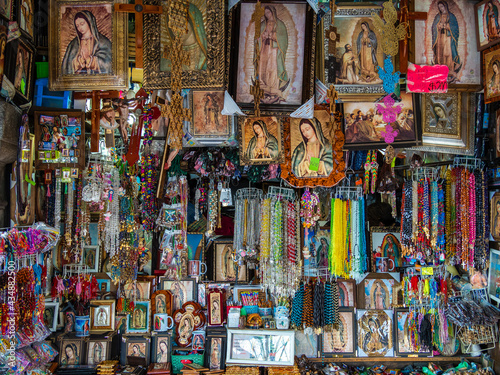 Souvenir shop selling religious items outside the Basilica of Our Lady of Guadalupe in Mexico City, Mexico Fototapeta