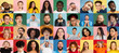 Portraits of group of people on multicolored background, collage.