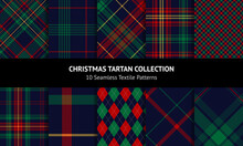 Check Plaid Pattern Set For Christmas In Red, Green, Yellow, Navy Blue. Seamless Dark Multicolored Tartan Vector Plaids For Flannel Shirt, Blanket, Other Modern Winter Holiday Fashion Fabric Design.