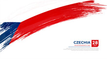 Flag Of Czechia Country. Happy Independence Day Of Czechia Background With Grunge Brush Flag Illustration