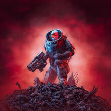 Cyberpunk Soldier After Battle / 3D Illustration Of Science Fiction Military Robot Warrior Standing Amid Rubble And Human Skulls With Ominous Red Sky