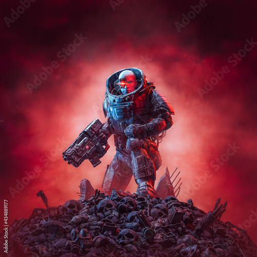 Fotografiet Cyberpunk soldier after battle / 3D illustration of science fiction military rob