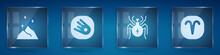 Set Magic Powder, Comet Falling Down Fast, Spider And Aries Zodiac. Square Glass Panels. Vector