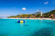 Caribbean Sunny Beach And Turquoise Sea In Montego Bay, Jamaica Island..