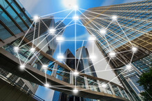 Block Chain Text And Distributed Computer Network Icon Over Modern Business Building Glass Of Skyscrapers With Sun Carona And Airplane, Distributed Ledger Technology And Block Chain Concept