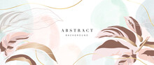 Gold And Pink Tropical Leaves Background Vector. Luxury Wall Paper Design With Rose Gold Pinstripe Or Calathea Ornata Plant. Botanical And Watercolor Texture. Vector Illustration.