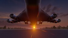 3d Rendering, Passenger Plane Take Off From The Runway Before The Light From The Sunshine