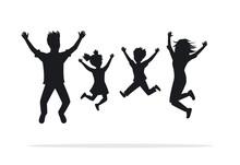 Family Jumping For Joy Silhouette Scene