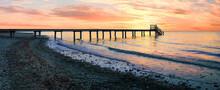 Sunset Beach With Wooden Boardwalk, Dreamy Romantic Scenery