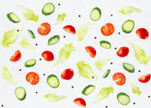 Wellness Seamless Food Pattern - Slices Cherry Tomato, Cucumber And Green Salad As Flying Levitate Flow On White Background.