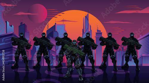 Photo Futuristic Soldier Squad in City