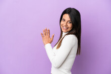 Young Caucasian Woman Isolated On Purple Background Scheming Something