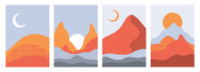 Collection Of Rectangular Abstract Landscapes. Sun, Mountains, Waves. Japanese Style. Modern Layouts, Fashionable Terra Colors. Layouts For Social Networks, Banners, Posters. Vector Illustration