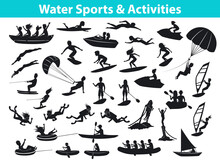 Summer Water Beach Sports, Activities Silhouette Set. People, Man, Woman, Couple, Family Windsurf, Surfing, Jet Skiing, Stand Up Paddleboard, Snorkeling, Scuba Diving, Tubing, Riding Speed Boat