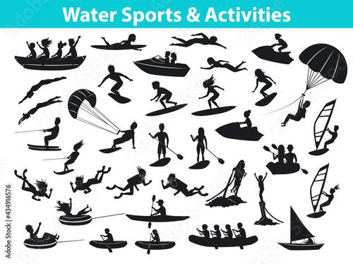 Summer water beach sports, activities silhouette set Fototapet