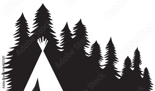 Fotografia Native American wigwam (indian tepee) and trees or forest landscape