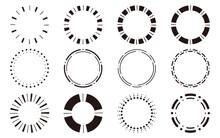 丸型・円形のシンプルフレームセット モノクロ