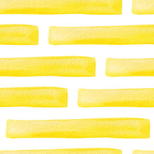 Seamless Pattern With Yellow Rectangles Painted With Watercolor. Yellow Stripes. Seamless Pattern For The Decoration Of Stationery, Textiles, Gift Wrapping.