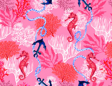 Beautiful Seamless Vector Tropical Pattern With Corals, Sea Horse, Anchor, Hibiscus, Ropes. Abstract Geometric Texture. Perfect For Wallpapers, Web Page Backgrounds, Surface Textures, Textile.