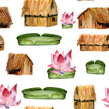 House Hut And Lotus On The Amazon River Watercolor Seamless Pattern. Template For Decorating Designs And Illustrations.