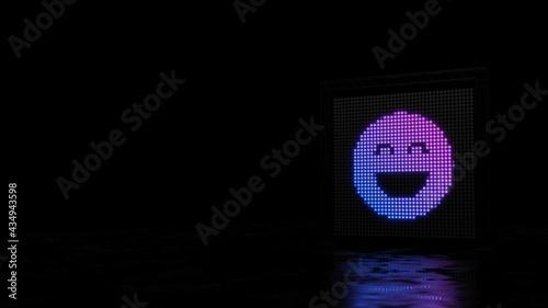 Fotografia 3d rendering of light shaped as symbol of emoticons goofy on black background