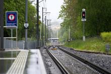Railway Tracks At SZU Train Station Zurich Triemli. Photo Taken May 21st, 2021, Zurich Switzerland.