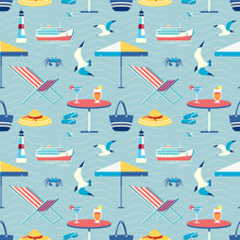 Seaside Holiday Leisure Seamless Vector Pattern. Beach Umbrella, Armchair, Cool Drinks Cartoon Icon. Summer Season Sea Vacation Decorative Wallpaper. Tropical Tourist Travel Trip Background Template