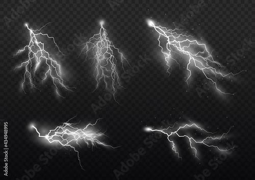Obraz na płótnie Set of zippers, thunderstorm and effect lightning.